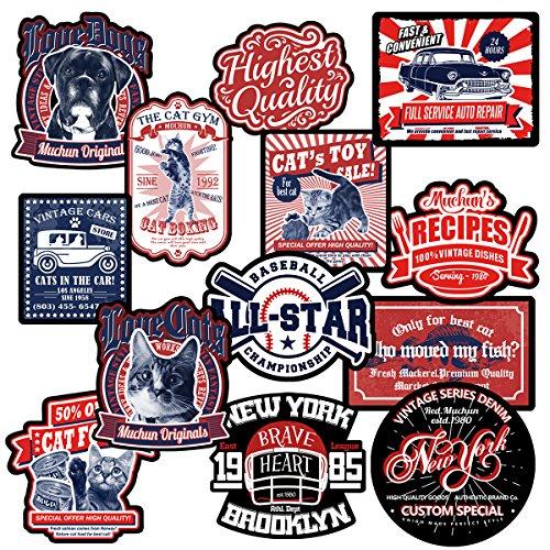 Chileeany Big size-13 Pezzi - Adesivi Valigia, Adesivi in tessuto, Retro Vintage Stickers per Valigia, Skateboard, Chitarra (World Tour)