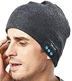 Gorro HMILYDYK unisex con Bluetooth, para invierno, cálido, de punto, inalámbrico V4.1, para música y auriculares, con altavoces, se puede lavar a máquina, ideal como regalo de Navidad para hombres, mujeres, adolescentes, niños y niñas, Dark Gray, 8.2 Inch * 8.5 Inch