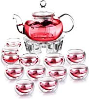 Liying Heat-resistant Glass Tea Pot Set Infuser Teapot Plus Warmer Plus 12 Double Wall Tea Cups