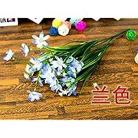 Hoobor House simulazione forcella 7 piante acquatiche Orchid Fiore Piante in plastica piccolo fascio esterno decorazione floreale decorazione home(blu)