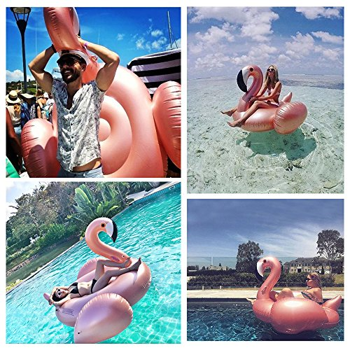 Giant Inflatable Flamingo Pool Float Rose Gold Swim Ring Flamingo Float Water Toy For Fun