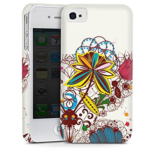 Apple iPhone 4 Housse Étui Silicone Coque Protection Printemps Fleurs Fleurs Cas Premium mat