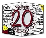 Endlich 20 - das witzige Geburtstagsgeschenk für junge Männer und Frauen :)
