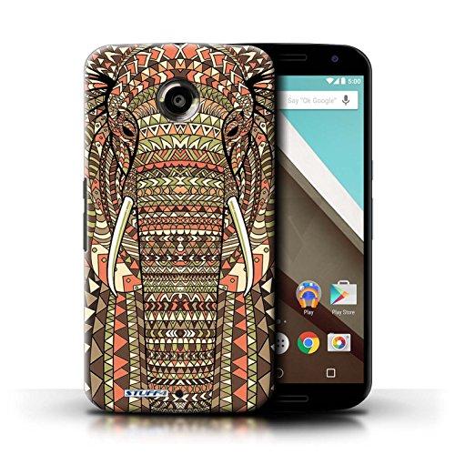 Kobalt® Imprimé Etui / Coque pour Motorola Nexus 6 / Loup-Couleur conception / Série Motif Animaux Aztec éléphant-Sépia