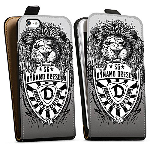 Apple iPhone 6s Plus Hülle Case Handyhülle Dynamo Dresden Fanartikel Löwe Downflip Tasche schwarz