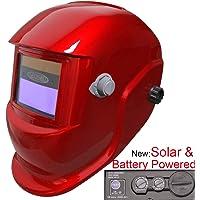 Leopard {Rot} Solarbetrieben & Austauschbare Batterie + Auto-Abdunklung + Schleiffunktion + Große Ansicht Automatik Schweißhelm Maske
