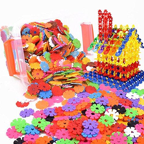 Creative Kids Flakes 100 Stück Verriegelung Kunststoffscheibe Set für Spaß kreative Gebäude pädagogische STEM BAU Spielzeug Halloween Weihnachten Geschenk für Jungen und Mädchen