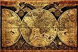Posterlounge Holzbild 120 x 80 cm: Welt 1630 von Michaels Antike Weltkarten