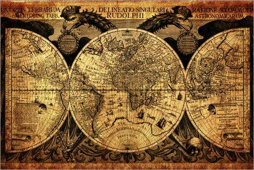 Holzbild 120 x 80 cm: Welt 1630 von Michaels Antike Weltkarten