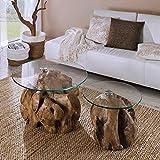Pharao24 Sofatisch Set aus Teak Wurzelholz runde Glasplatten