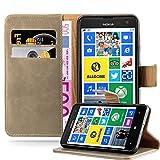 Cadorabo Hülle für Nokia Lumia 625 - Hülle in Cappucino BRAUN – Handyhülle im Luxury Design mit Kartenfach und Standfunktion - Case Cover Schutzhülle Etui Tasche Book