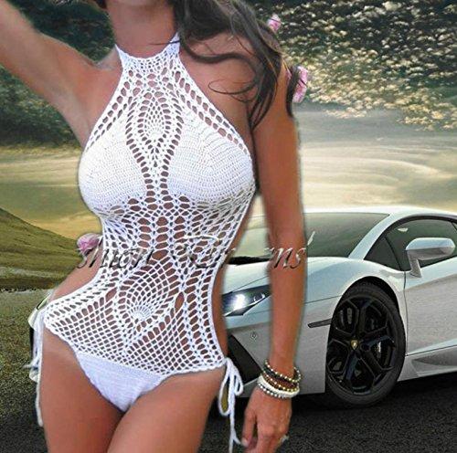 HHBO Damen Halfter Bikini, Geometrische Polyester Handgefertigte Bikinis Sets Green