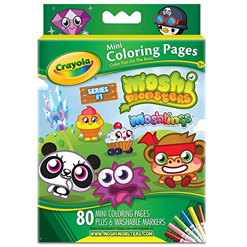 Image of Crayola Moshi Monsters Mini Colouring Pages With 6 Washable Markers