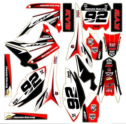 Honda Rotes Moto MX Aufkleber-Set (kein Originalherstellerteil), für Honda CRF 250/450,2013-14 - Für Honda Aufkleber-set