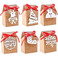 LOKIPA 24 Pieces Christmas Paper Candy Gift Boxes Kraft Paper Gift Candy Bags for Christmas Favors