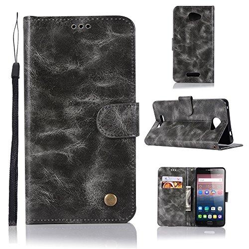 kelman Hülle für Alcatel One Touch Pop 4s Hülle Schutzhülle PU Leder + Soft Silikon TPU Innere Schale Brieftasche Flip Handyhülle - [JX02/Grau]