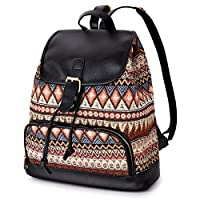 VBIGER Womens Ethnic Pattern Printing Canvas Travel Backpack for Ladies