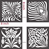 Bianca DeGeneres Wall Stencils, Craft Stencils, Set of 4 (8x8 inch Each) Painting Stencils for Wall, Furniture, Fabric, Glass, Craft and Hobbyists