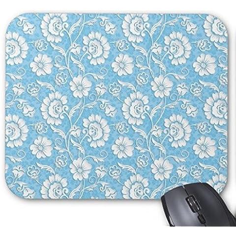 Gaming Mouse Pad tantalizing, colore: azzurro Vintage floreale rettangolare Office-Mousepad