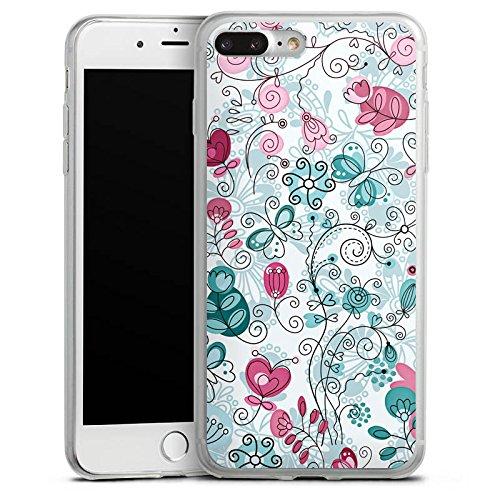 Apple iPhone 8 Plus Slim Case Silikon Hülle Schutzhülle Schmetterlinge Ranken Blumen Silikon Slim Case transparent