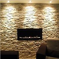 65 Camino bioetanolo con bianchi Pietre e 2 x Bruciatore - 65 x 40 cm - 2 livelli Brenner - bianco Pietre come Decorazione - Olio Di Fragranza Ciotola - SUPER OTTICA