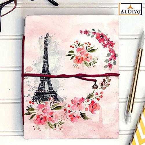 Handmade Diary/Handmade Notebook (12.7cm x 17.78 cm) (Eiffel Tower)