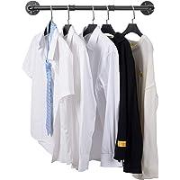 Ihomepark Portant à Vêtement Industriel, 70cm Porte à Vêtements Manteaux en Fer Rustique à Fixation Murale, Porte…
