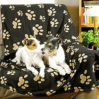 Trixie 37182 Fleecedecke Barney,150 x 100 cm, schwarz mit beigen Pfoten