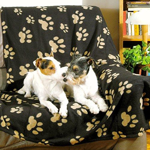 Artikelbild: Trixie 37182 Fleecedecke Barney,150 x 100 cm, schwarz mit beigen Pfoten
