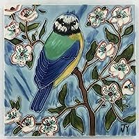 Blue Tit by Judith Yates 8x8 Decorative Ceramic Tile Picture Art Plaque Floral Gift Decor