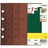 Bosch 2607019495 Lot de feuilles abrasives pour Ponceuse vibrante 8 trous 93 x 185 mm Grain 40-120 25 pièces