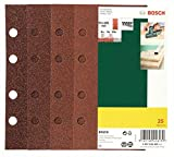 Bosch DIY 25tlg. Schleifblatt-Set verschiedene Materialien für Schwingschleifer (Körnung 40/60/80/120, 8 Löcher)