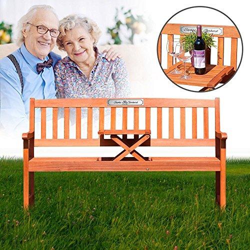 Gartenbank mit Tisch aus Eukalyptus Holz – Dreisitzer als individuelle Geschenkidee zur Goldenen Hochzeit– Personalisiert mit Namen und Datum – 50 Jahre – Sitzbank mit silberner...
