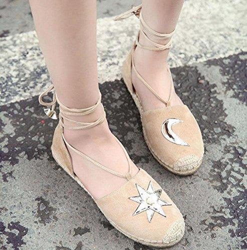 Scarpe piatte Cinghie di caviglia D'Orsay Pecora pelle Pelle pelle Luna Scarpe Sandali apricot
