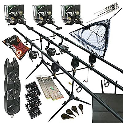 Full Carp fishing Set Up Complete With 3 x Rods Reels Alarms Landing Net Bait Tackle by redwood