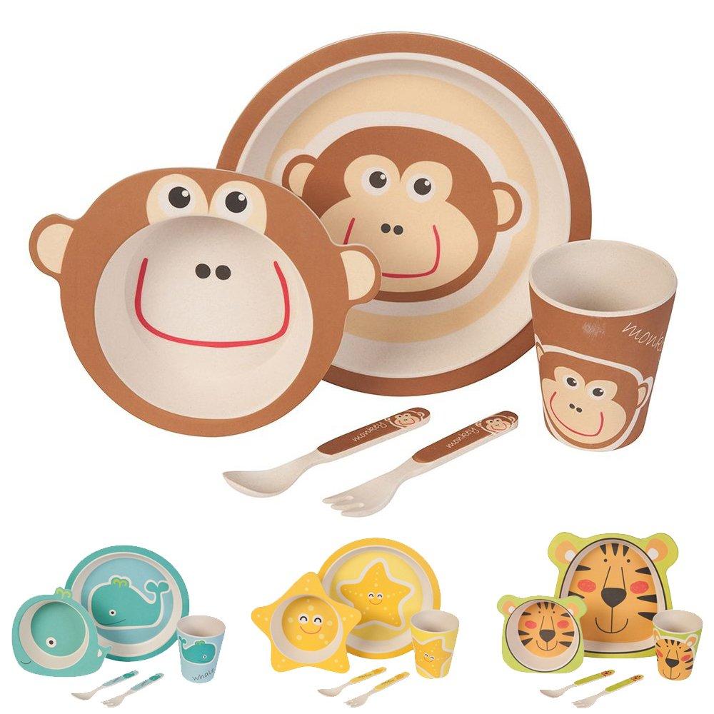 Biozoyg Kinder Geschirr Set Aus Bambus 5 Teilig I Kindergeschirr Set