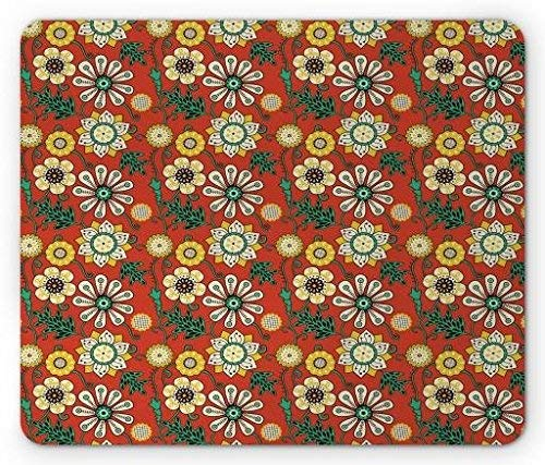 Floral Mouse Pad, Artistic Petals and Leaves Flourishing Nature Scroll Design, Standard Size Rectangle Non-Slip Rubber Mousepad, Burnt Orange Sea Green Pale Yellow Ut Burnt Orange