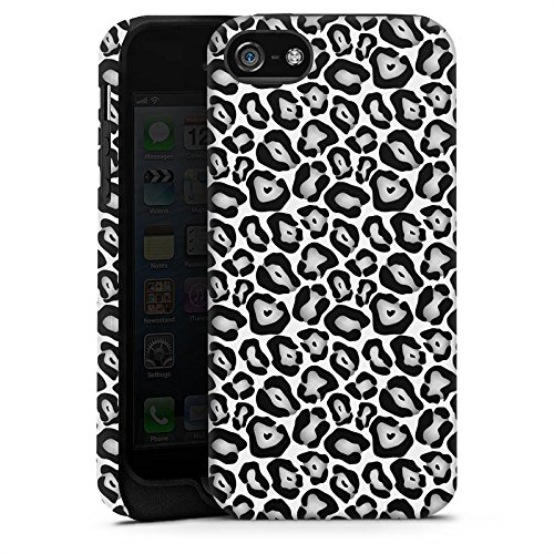 Apple iPhone X Silikon Hülle Case Schutzhülle Tiere Graues Leo Fell Look Black and White Tough Case matt