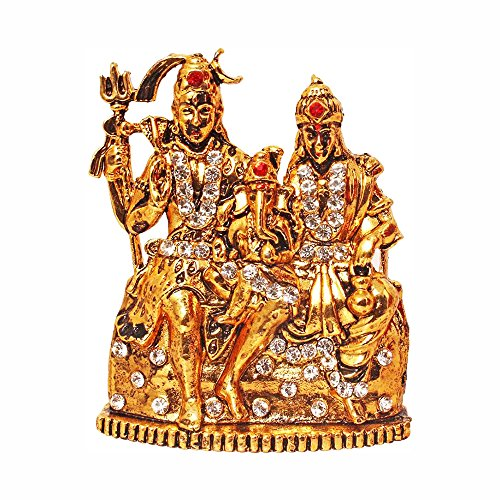 Fabzone Gold Plated Lord Shiv Parivar Idol Shiv Parwati God Shiva Family Handicraft Statue Spiritual Puja Vastu Showpiece Fegurine - Religious Murti Pooja Gift Item Home Décor/Office/Temple