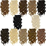 Clip In Extensions 55 cm gewellt - Haarverlängerung 7 Haarteile Komplettset - Farbe Platinblond