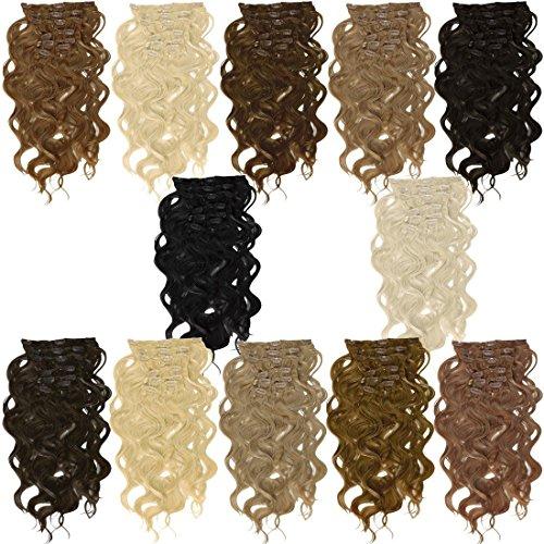 Clip In Extensions 55 cm gewellt - Haarverlängerung 7 Haarteile Komplettset - Farbe Schokobraun