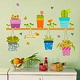 ufengke® Plantas En Macetas Flores Mariposas Calcomanías De Pared, Sala de Estar Dormitorio Removible Etiquetas de la Pared M