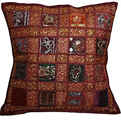 "16"" Recycled Sari Cushion Cover 40cm Indian Moroccan Maroon"