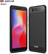 "Original Premium REDMI 6A Back Case – WOW Imagine Rugged Armour Shock Proof ""Brushed Carbon Fibre Texture"" [Anti Shock Corners with Air Cushion Technology] Impact Resistant Slim Profile TPU Phone Back Case Cover For XIAOMI REDMI 6A - Carbon Black"