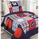 Mk Collection 2 Pc Bedspread Boys Sport Football Basketball Baseball Dark Blue New by MK Home