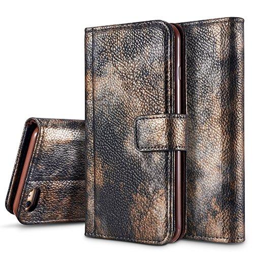 EKINHUI Case Cover Wald Serie Bunte Paiting Litchi Textur Premium PU Leder Horizontale Flip Stand Brieftasche Case Cover mit Card Slots für iPhone 6 Plus und 6s Plus ( Color : Crimson ) Darkgray