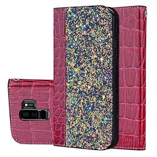 Kucosy Glitzer Schutzhülle für Samsung S9 Plus, Galaxy S9 Plus Hülle Luxury Bling Glitzer PU Leder Handyhülle Mädchen Schutzhülle Sparkle Flip Cover Etui Bumper Tasche für Galaxy S9 Plus, Weinrot