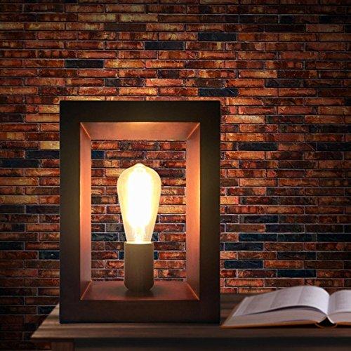 SHDT Klassische Art E27 Tischlampe Retro Holz Schlafzimmer Nachttischlampe Schreibtischlampe Wohnzimmer Wohnkultur