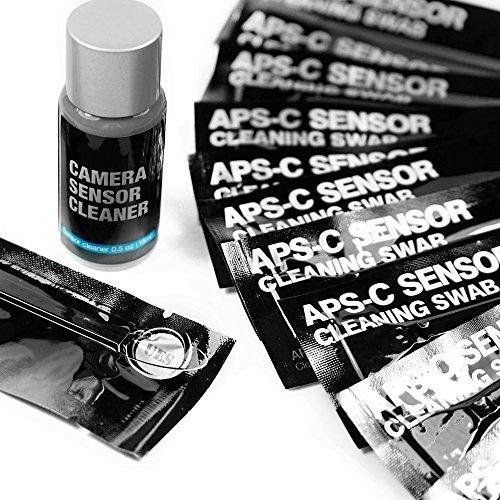"""UES Kamera APS-C Sensor Reinigungs Kit für 6 bis 12 Reinigungen, 14 x Swab 16mm """"staubfrei, vakuumverpackt"""" 15ml Flüssigreiniger"""