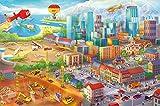 great-art Poster Kinderzimmer Comic Stadt – Wimmelbild Wandposter 140x100 cm Kinder Großstadt Kinderposter